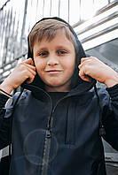 Детская куртка с капюшоном синяя для мальчика демисезонная, стильная ветровка на мальчика Easy softshell