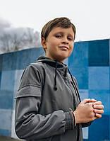 Детская куртка с капюшоном серая для мальчика демисезонная, стильная ветровка на мальчика Easy softshell