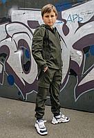 Детский комплект хаки для мальчика демисезонный,спортивная ветровка с капюшоном и штаны Easy softshell