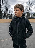 Детская куртка с капюшоном для мальчика черная демисезонная, спортивная ветровка на мальчика Easy softshell