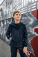 Детская куртка с капюшоном для мальчика синяя демисезонная, спортивная ветровка на мальчика Easy softshell