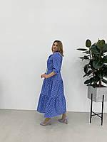 Молодіжне блакитне плаття в горохи , розміри укр 46 48 50 52
