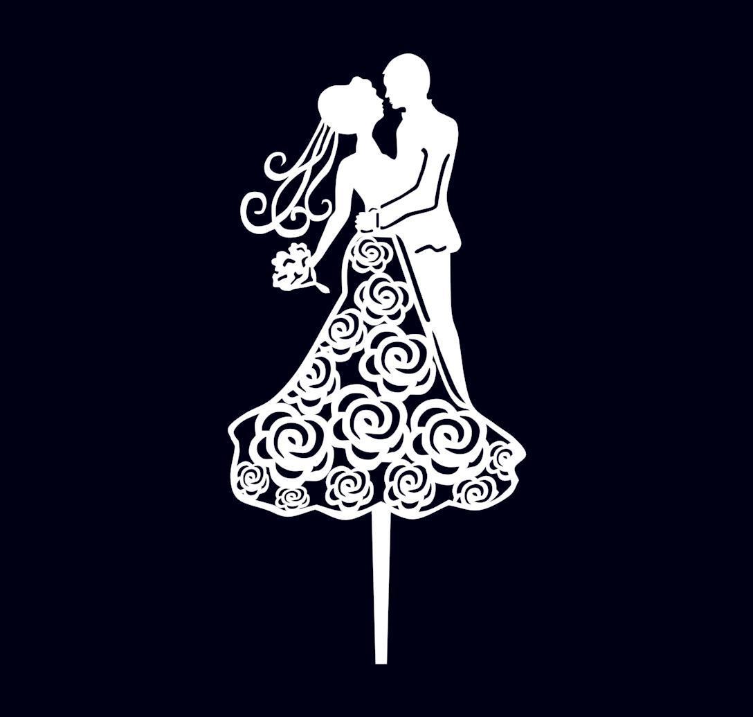 Весільний топпер пара білі силуети Пластикові топпери Топпери в блискітках Топпери на замовлення
