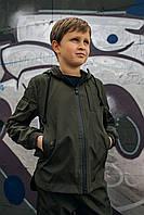 Спортивная детская куртка с капюшоном хаки для мальчика демисезонная, ветровка на мальчика Easy softshell