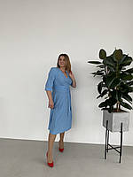 Молодіжне блакитне плаття в розсип , розміри укр 46 48 50 52