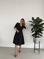 Черное платье в россыпь с поясом , размеры  укр 46 48 50 52