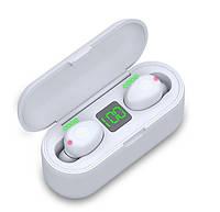 Беспроводные Bluetooth наушники F9 LED Power Display. Power Bank Белые