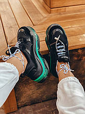 Женские кроссовки Balenciaga Triple S Clear Sole Black/Neon Green 541624W09ON1047, фото 3