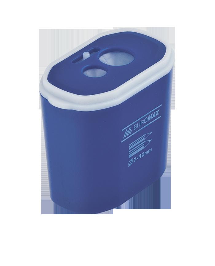 Точилка прямоугольная DRUM, 2 отв., контейнер, пластик. корпус, ассорти  BM.4776