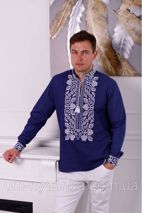 натуральна вишиванка чоловіча льон синій