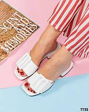 Женские белые кожаные шлепанцы с квадратным носком