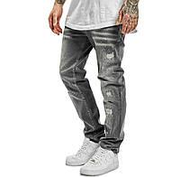 Стильные качественные мужские джинсы серого цвета с потертостями YAKUZA