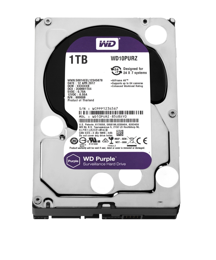 Жесткий диск HDD SATA 1.0 tb WD Purple 5400rpm 64MB (WD10PURZ) Refurbished