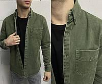 Плотная джинсовая мужская рубашка зеленая (хаки) с длинным рукавом на пуговицах Турция