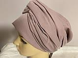 Шапка чалма демісезонна тонка з об'ємним плетеним прикрасою колір пудра, фото 2