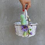 Білий Кошик пасхальний дитячий з зайчиками, великодній кошик для дітей з зайчиком, фото 3
