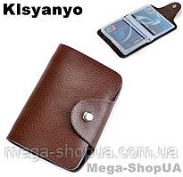 Визитница карманная кожаная карточница карт-холдер на 26 карт Klsyanyо D34R. Візитниця шкіряна картхолдер