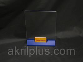 Менюхолдер А4 формату вертикальний двосторонній з відділенням для візиток на синій трикутної ніжці