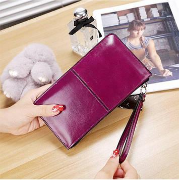 Многофункциональный женский кошелек клатч фиолетовый код 199
