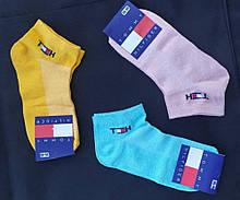 Набір жіночих шкарпеток Tommy Hilfiger (3 шт) короткі сітка бавовна розмір 36-40 мікс (жовті, зелені,
