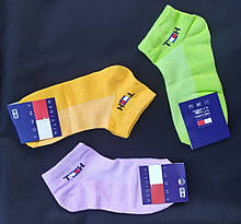 Набір жіночих шкарпеток Tommy Hilfiger (3 шт) короткі сітка бавовна розмір 36-40 мікс (жовті, бузкові,