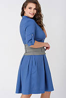 Платье-рубашка с широким поясом, большие размеры, фото 1