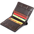 Вертикальное портмоне-кредитница комби в гладкой коже GRANDE PELLE 11328 Коричневое, фото 4