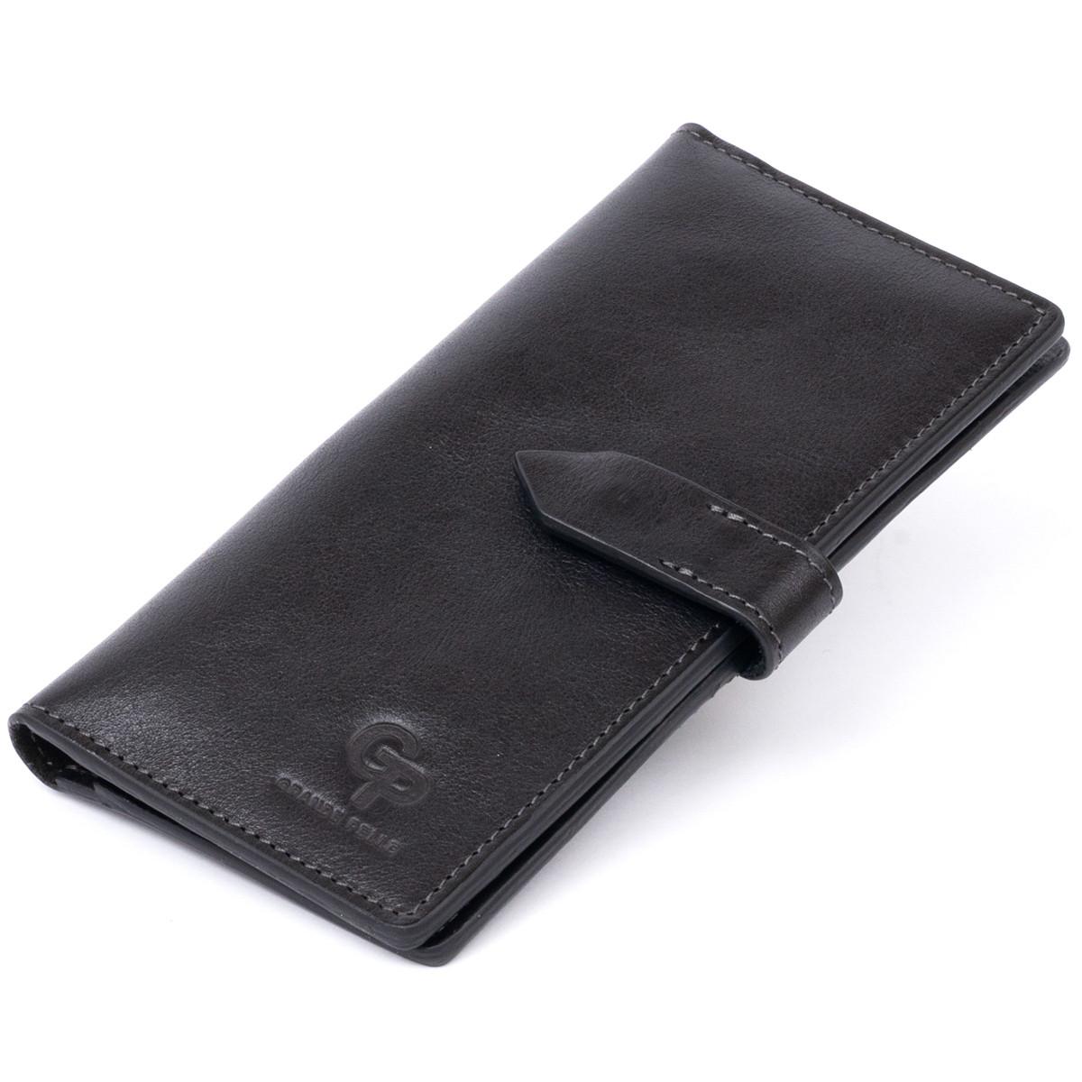Вертикальний гаманець глянцевий Anet на кнопці GRANDE PELLE 11324 Чорний