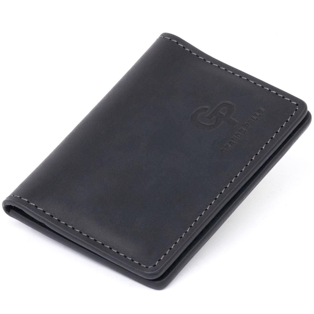 Візитниця з обкладинкою для ID-паспорта з натуральної шкіри GRANDE PELLE 11290 Чорна