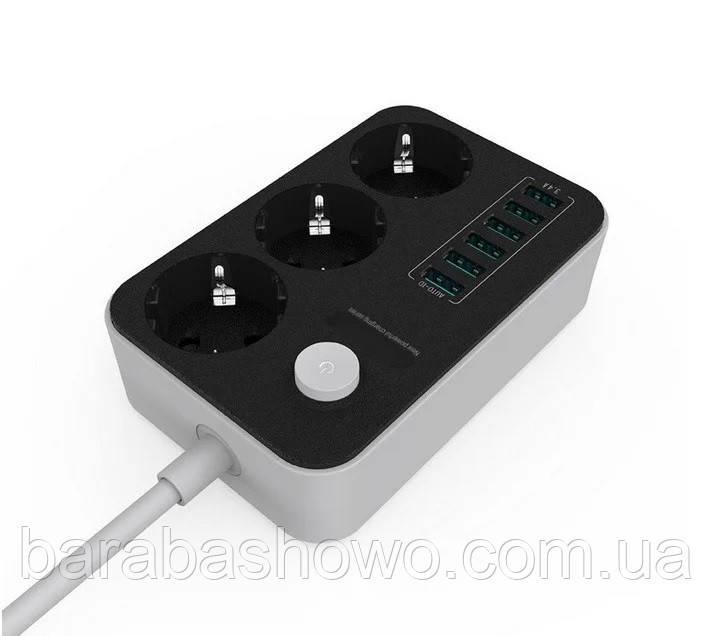 Мережевий подовжувач SE3631 3 розетки 6 USB 1.6 м
