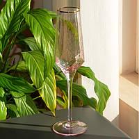 Бокал под шампанское с золотым ободком розовый 300мл SKL11-290711
