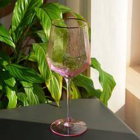 Бокал с золотым ободком розовый 600мл SKL11-290713