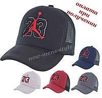 Мужская молодежная модная стильная спортивная кепка бейсболка блайзер тракер Jordan Nike 23 с сеткой (в сетку), фото 1