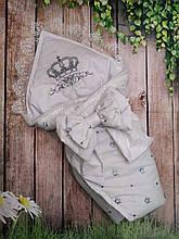 Конверт на выписку  с вышивкой и кружевом Корона