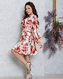 Квіткове плаття на запах з воланами, фото 2
