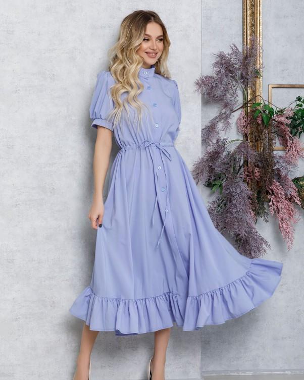 Сиреневое платье-рубашка с кулиской и воланом