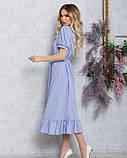 Сиреневое платье-рубашка с кулиской и воланом, фото 2