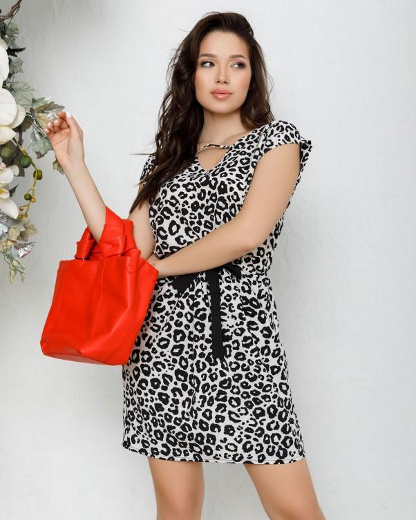 Черно-белое леопардовое платье на кулиске