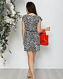 Черно-белое леопардовое платье на кулиске, фото 3