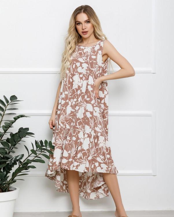 Бежеве асиметричне плаття з воланом