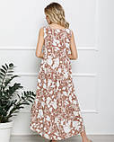 Бежеве асиметричне плаття з воланом, фото 3