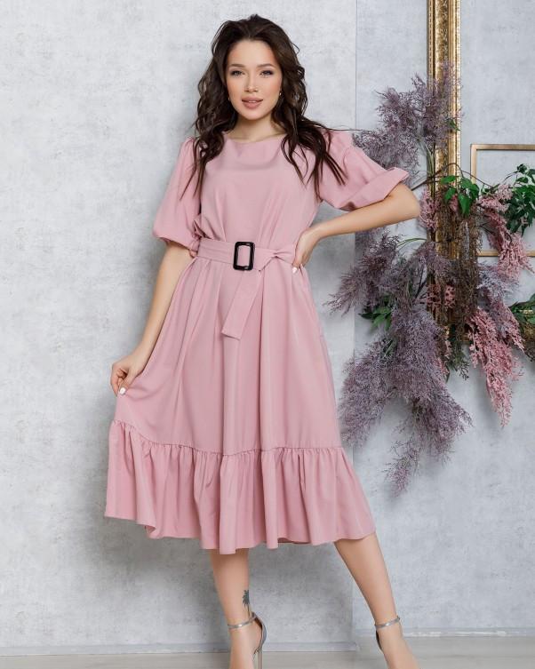 Розовое расклешенное платье с рукавами-фонариками
