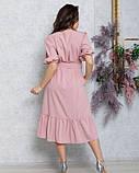 Розовое расклешенное платье с рукавами-фонариками, фото 3