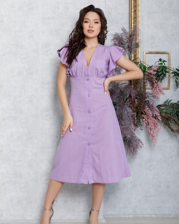 Сиреневое коттоновое платье на пуговицах