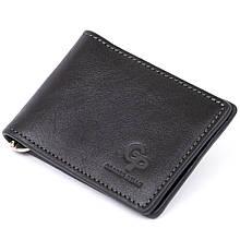 Стильне портмоне з затиском для грошей без застібки GRANDE PELLE 11295 Чорне