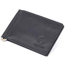 Стильне портмоне з затиском для грошей без застібки вінтажне GRANDE PELLE 11296 Чорне