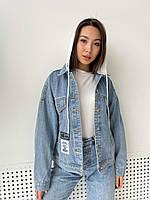 Стильная джинсовая куртка с капюшоном