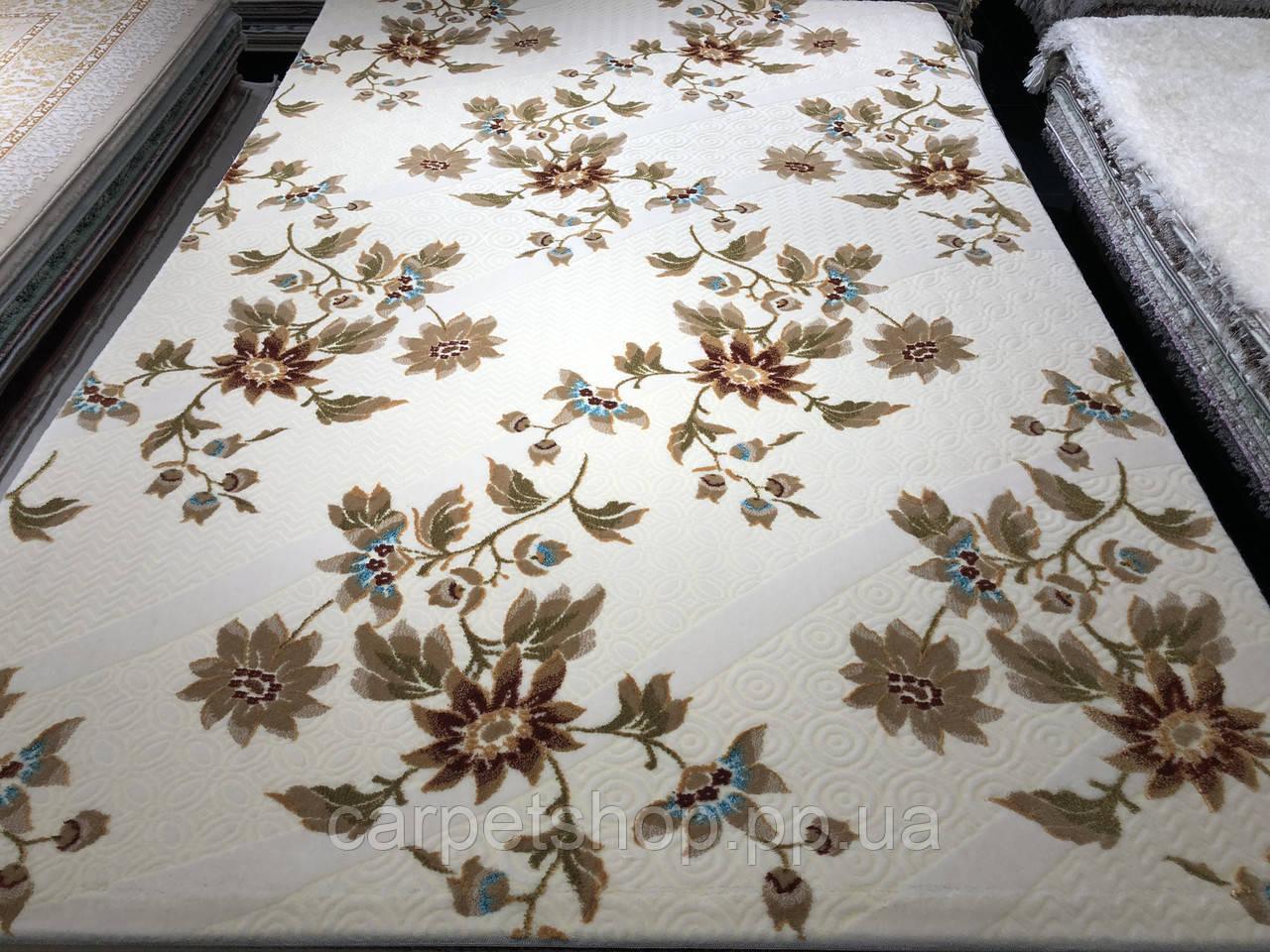 150x233 Акриловий килим з золотом і квітами.