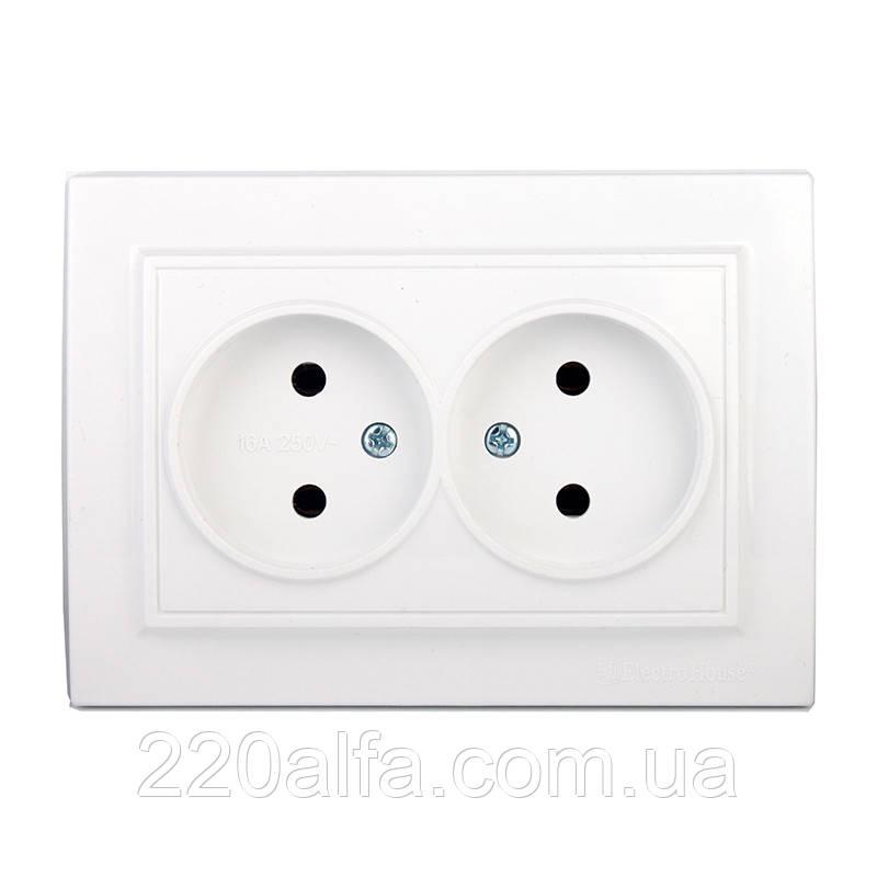 ElectroHouse Розетка двойная б/з (мат термопластик) 16А
