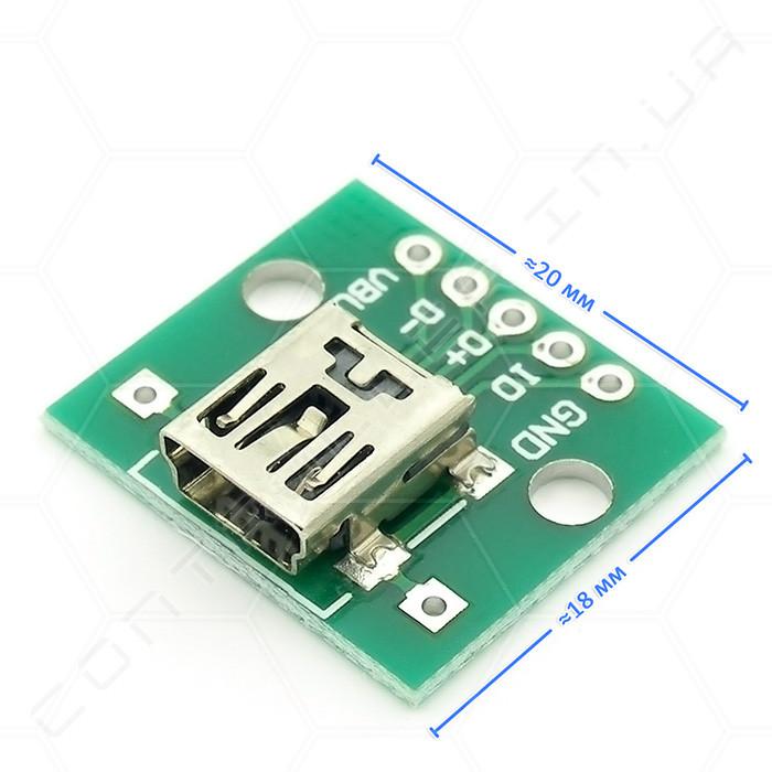 Плата перехідник з роз'ємом mini USB мама, 5 коннекторів